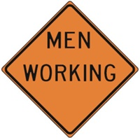 "Men Working Construction Sign 24""x24"""